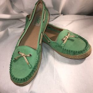 UGG Green Chivon Flats/Boat Shoes